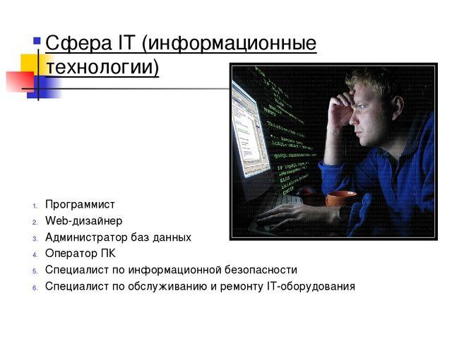 Сфера IT (информационные технологии) Программист Web-дизайнер Администратор б...