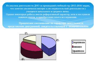 Из анализа деятельности ДНО за прошедший учебный год /2015-2016/ видно, что з