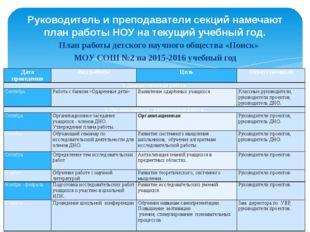 План работы детского научного общества «Поиск» МОУ СОШ №2 на 2015-2016 учебны