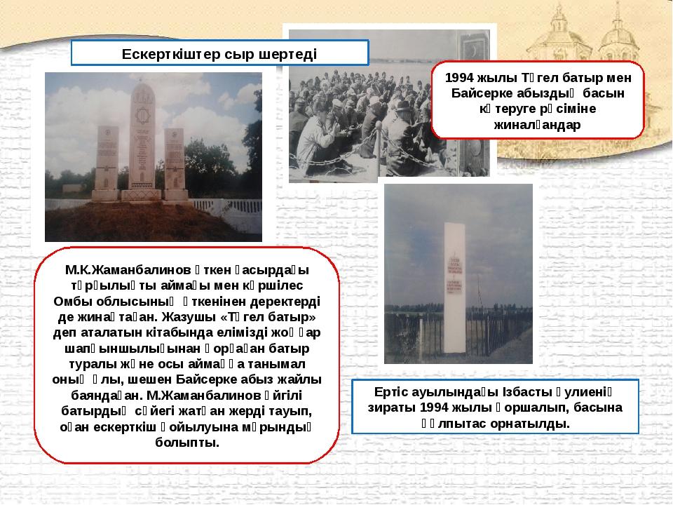 М.К.Жаманбалинов өткен ғасырдағы тұрғылықты аймағы мен көршілес Омбы облысыны...