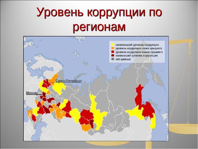 Уровень коррупции по регионам