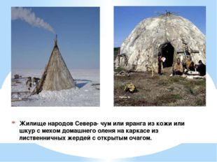 Жилище народов Севера- чум или яранга из кожи или шкур с мехом домашнего олен