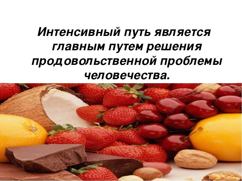 Интенсивный путь является главным путем решения продовольственной проблемы ч...
