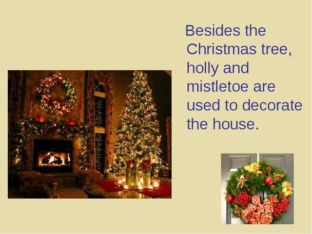 Besides the Christmas tree, holly and mistletoe are used to decorate the hou...