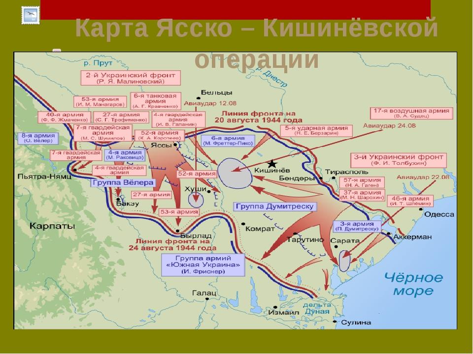 Карта Ясско – Кишинёвской операции