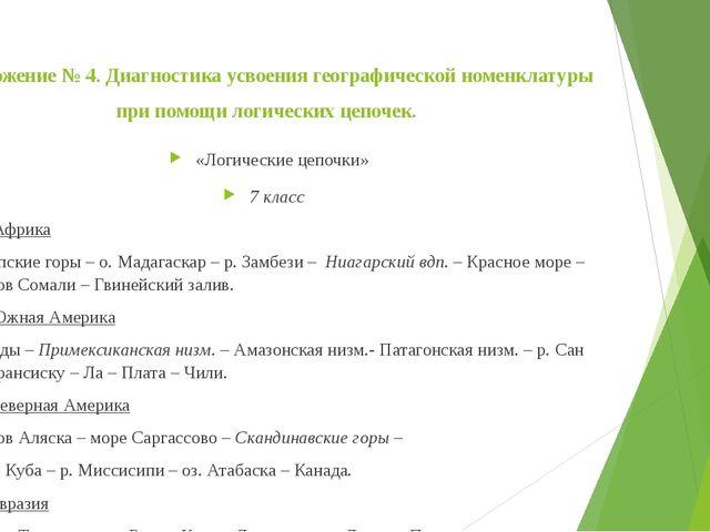 Приложение № 4. Диагностика усвоения географической номенклатуры при помощи л...