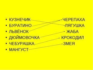 КУЗНЕЧИК ЧЕРЕПАХА БУРАТИНО ЛЯГУШКА ЛЬВЁНОК ЖАБА ДЮЙМОВОЧКА КРОКОДИЛ ЧЕБУРАШКА
