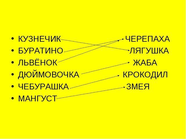 КУЗНЕЧИК ЧЕРЕПАХА БУРАТИНО ЛЯГУШКА ЛЬВЁНОК ЖАБА ДЮЙМОВОЧКА КРОКОДИЛ ЧЕБУРАШКА...