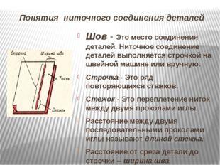 Понятия ниточного соединения деталей Шов- Это место соединения деталей. Нито