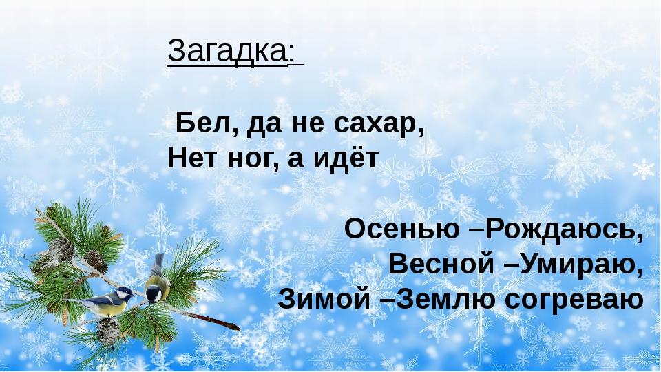 Загадка: Бел, да не сахар, Нет ног, а идёт Осенью –Рождаюсь, Весной –Умираю,...