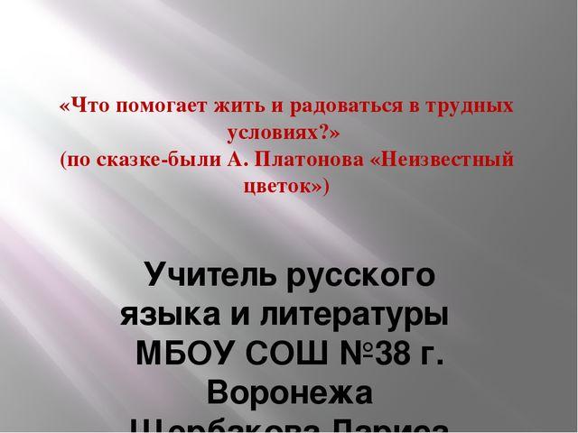 «Что помогает жить и радоваться в трудных условиях?» (по сказке-были А. Плато...