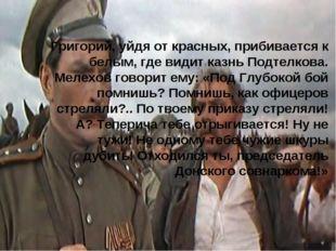 Григорий, уйдя от красных, прибивается к белым, где видит казнь Подтелкова. М