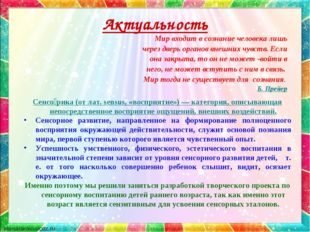 Актуальность Сенсо́рика (от лат. sensus, «восприятие») — категория, описывающ