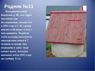 Родник №11 Колодец по улице Киевская д. 90, этот адрес мы взяли для исследова