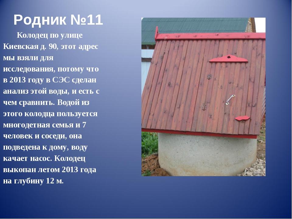 Родник №11 Колодец по улице Киевская д. 90, этот адрес мы взяли для исследова...
