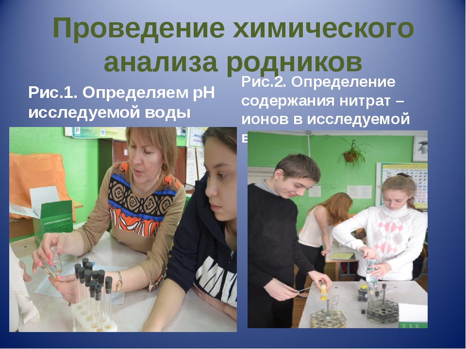 Проведение химического анализа родников Рис.1. Определяем рН исследуемой воды...