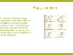 Виды ходов По второму признаку ходы разделяются на бесшажные - передвижение
