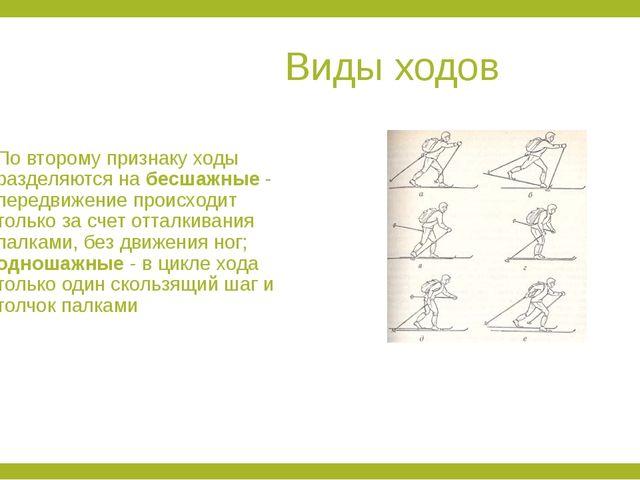 Виды ходов По второму признаку ходы разделяются на бесшажные - передвижение...