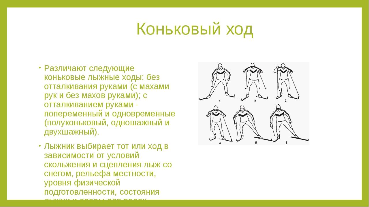 Коньковый ход Различают следующие коньковые лыжные ходы: без отталкивания ру...
