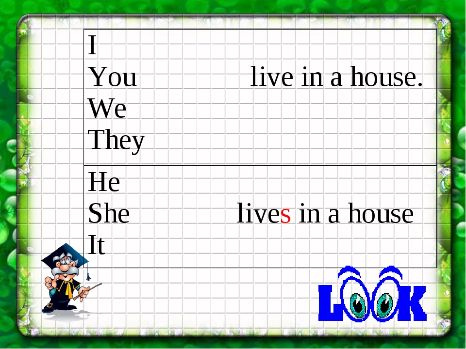 I You live in a house. We They He She lives in a house It