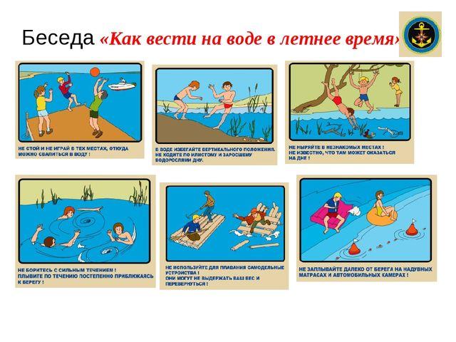 Беседа «Как вести на воде в летнее время»