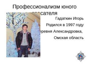 Профессионализм юного спасателя Гадаткин Игорь Родился в 1997 году Деревня Ал