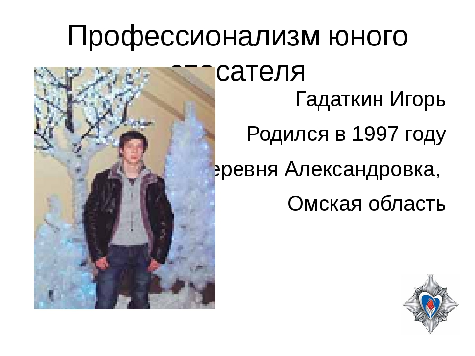 Профессионализм юного спасателя Гадаткин Игорь Родился в 1997 году Деревня Ал...
