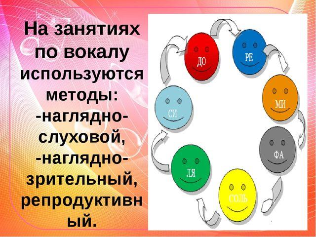 На занятиях по вокалу используются методы: -наглядно-слуховой, -наглядно-зрит...