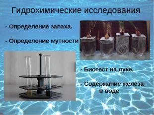 Гидрохимические исследования - Определение запаха. - Определение мутности - Б