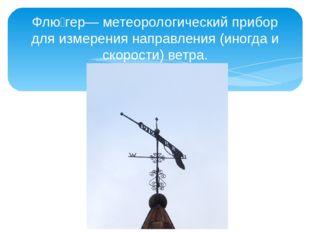 Флю́гер— метеорологический прибор для измерения направления (иногда и скорост