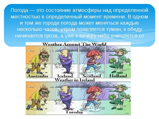 Погода — это состояние атмосферы над определенной местностью в определенный м...