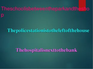 Theschoolisbetweentheparkandtheshop Thepolicestationistotheleftofthehouse The
