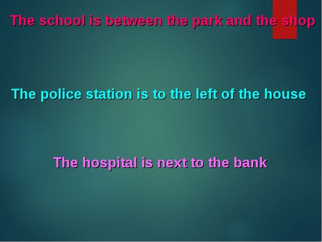 The school is between the park and the shop The police station is to the left...