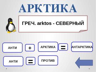 АРКТИКА АНТИ АНТАРКТИКА ПРОТИВ АРКТИКА + = АНТИ = ГРЕЧ. аrktos - СЕВЕРНЫЙ