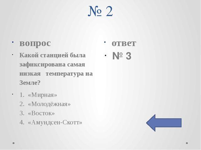 № 2 вопрос ответ Какой станцией была зафиксирована самая низкая температура н...