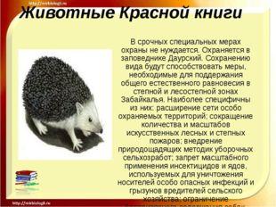 Животные Красной книги В срочных специальных мерах охраны не нуждается. Охран