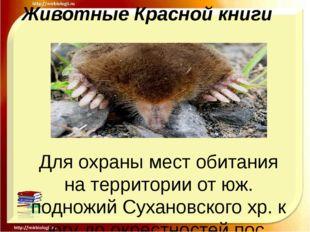 Животные Красной книги Для охраны мест обитания на территории от юж. подножий