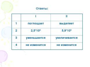 Ответы: III 1поглощаетвыделяет 22,5*1055,9*105 3уменьшаетсяувеличивае