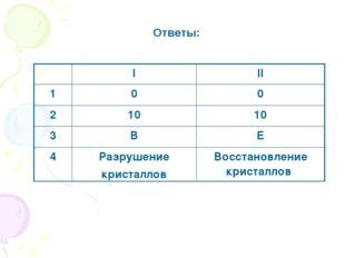 Ответы: III 100 21010 3ВЕ 4Разрушение кристалловВосстановление крис