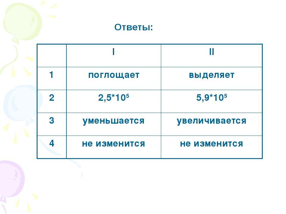 Ответы: III 1поглощаетвыделяет 22,5*1055,9*105 3уменьшаетсяувеличивае...