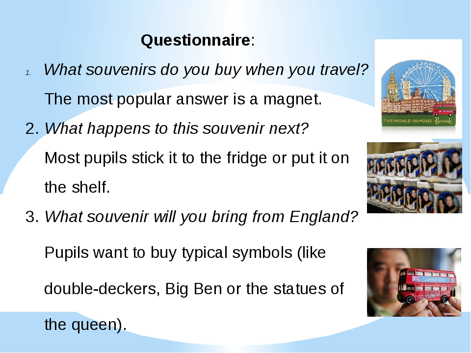 Questionnaire: What souvenirs do you buy when you travel? The most popular an...