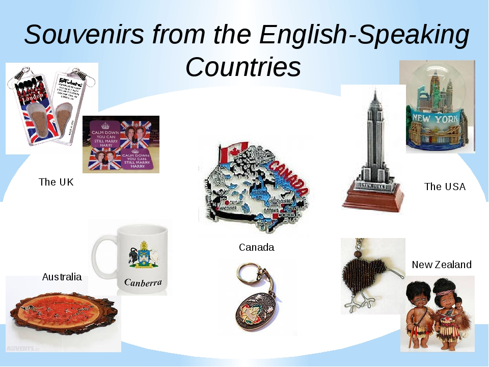Souvenirs from the English-Speaking Countries The UK The USA Canada Australia...