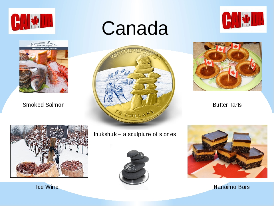 Canada Inukshuk – a sculpture of stones Smoked Salmon Butter Tarts Ice Wine N...