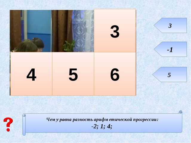 Чему равна разность арифметической прогрессии: -2; 1; 4; 3 5 6 4 3 -1 5