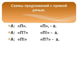 Схемы предложений с прямой речью. А: «П». «П», - а. А: «П?» «П!» - а. А: «П!»