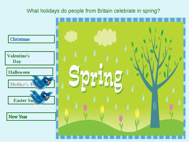 Easter Sunday Valentine's Day Halloween What holidays do people from Britain...