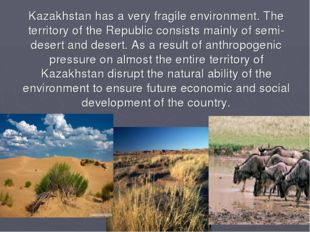 Kazakhstan has a very fragile environment. The territory of the Republic cons