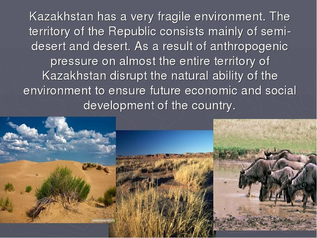Kazakhstan has a very fragile environment. The territory of the Republic cons...