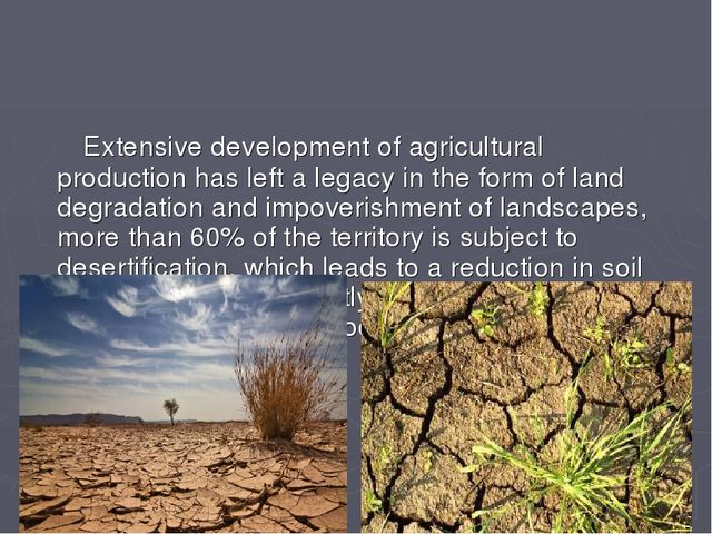 Extensive development of agricultural production has left a legacy in the fo...