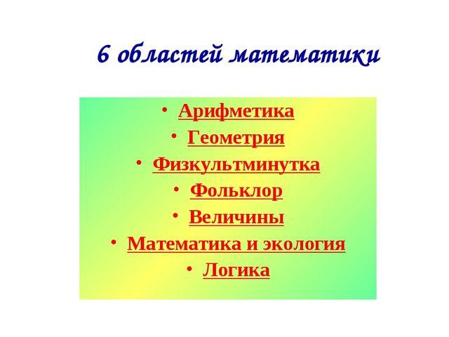 6 областей математики Арифметика Геометрия Физкультминутка Фольклор Величины...